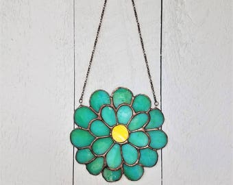 Stained Glass Daisy Ornament, Peaceful Artwork, Stained Glass Flower Window Art, Bright Aqua Flower, Colorful Suncatcher, Everlasting Flower