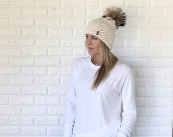 Double Brim Knit Beanie Hat with Brown Fur Pom | ivory off white/ Fisherman | THE BERRETTO