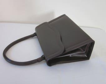 "1960s Dark Brown Vinyl Handbag by ""Theodor"""