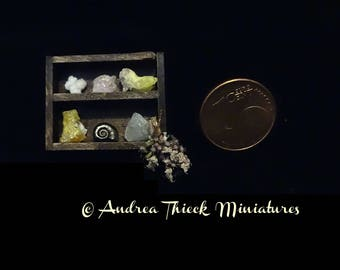 Miniature Shelf with Minerals -  small 1/12 scale - OOAK