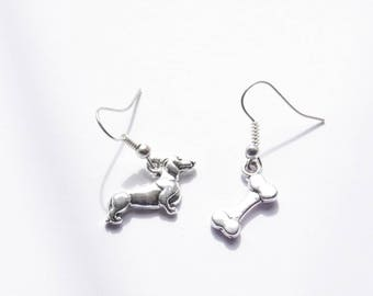 Dachshund Earrings, Dog Bone Earrings, Dachshund Stud Earrings, Dog Jewelry, Dachshund Jewelry, Dachshund Gifts for her