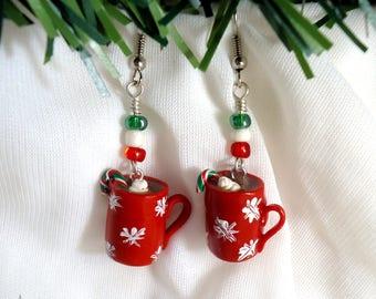 Red hot chocolate cup Christmas earrings, Mini coffee mug polymer clay fimo, Miniature food xmas stocking filler gift, Handmade kawaii charm