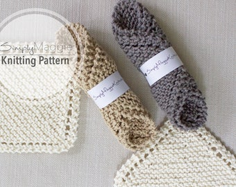 """Knitting Pattern // Knit Scrubbies // Knit Wash Cloth // Beginner's Knitting Pattern // 7"""" by 7"""" // Simply Maggie"""