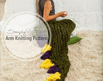 Arm Knitting Pattern // Arm Knit Dragon's Tail Sleep Sack // Animal Blanket // Knitting Pattern // Child's Blanket Pattern // Simply Maggie