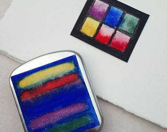 Set of 6 Bright Handmade Watercolor Tin