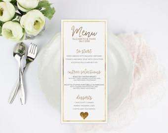 Real Gold Foil Menu Printed Wedding Decor Custom