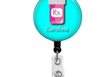 Pharmacy Badge Reel - Id Badge Holder - Badge Holder - ID Badge Reel - Retractable Badge - Name Badge Holder - Pharmacy Technician