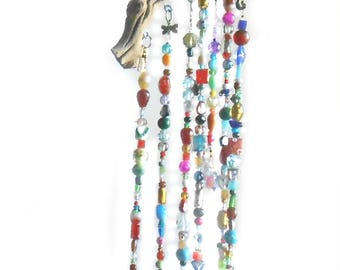 Crystal Wind Chime -Crystal Charms Collection - Crystal Windchime- Crystal Prisms Brass Bells Tree of Life Dragonfly