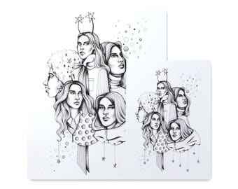 Starlight Sisters / Art Print / Fashion Illustration / Ink Drawing