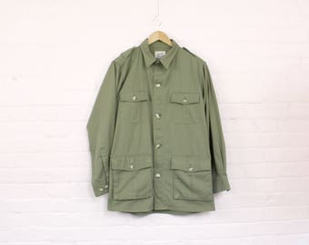 1980s Army Green Cargo Jacket · Tilley 80s Army Jack · Khaki Cargo Jacket · Cotton Field Jacket · 80s Olive Jacket · Vintage Army Jacket XL
