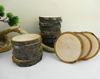 "Branch Wood Rounds, Bark Wood Slices, Tree Slices, Wedding, Woodworking, DIY, Crafts, Ornaments, Wood Slices, Alder Tree Slices, 3"" , 10pcs"