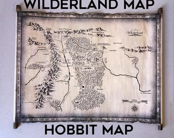 The Hobbit Wilderland Map (Rhovanion Map) Scroll, Part of Middle Earth Lord of the Rings Map, The Hobbit Map, The One Ring Wilderland Map