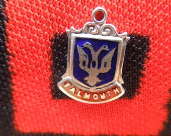 Enamel Sterling Falmouth Charm Jamaica Travel Shield Crest Charm Sterling Silver Charm for Bracelet from Charmhuntress 04806