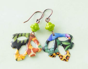 Colorful African Style Animal Print Vintage Tin Leaf Earrings, Leopard Print and Giraffe Print Earrings, Leaf Jewelry