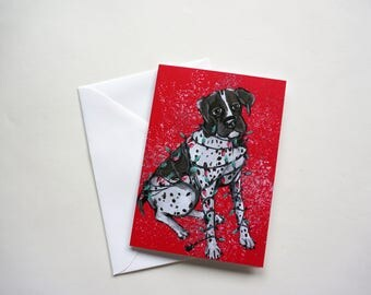German Shorthaired Pointer Tangled in Lights Holiday Card, Pointer Christmas Card by Amber Maki