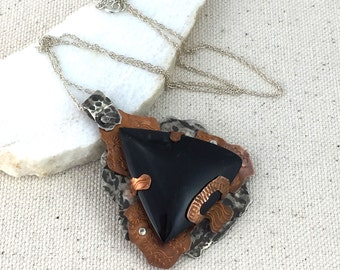 Large Triangular Black Jade Rustic Pendant in Distressed Stamped and Hammered Copper and Silver Setting with Rivets