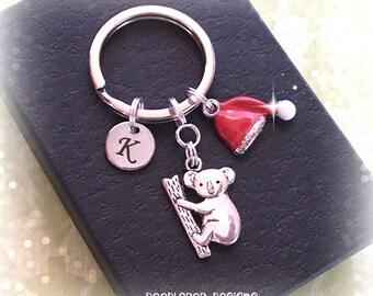 Koala charm keyring - Initial keychain - Christmas Koala keyring - Koala gift - Australia gift - Koala keychain - Stocking filler gift - UK