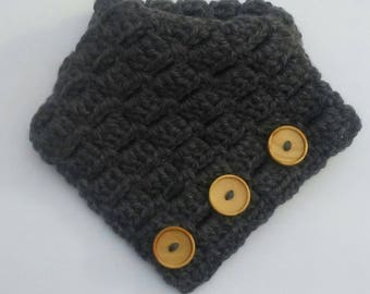 Neutral Dark Charcoal Gray Neckwarmer Scarf with Wooden Buttons