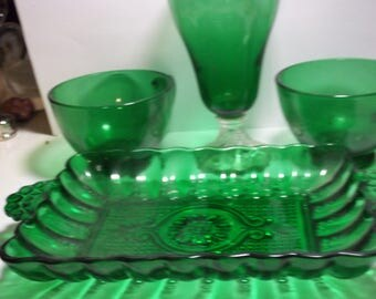 Lot of Authentic Vintage 1950s Forest Green Glassware