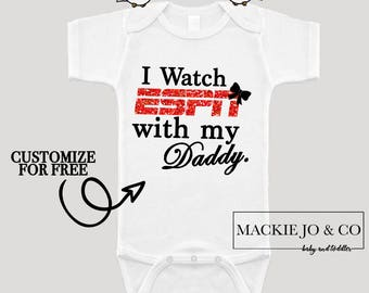 Baby Girl Clothes I Watch Espn With My Daddy Mommy Shirt Sparkle Shirt Baby Shower Gift Bodysuit Baby Girl Shirt Sparkle Shirt Glitter