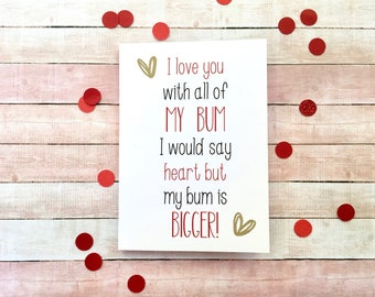 i love you with my bum valentines card card for him card - Etsy Valentines Cards