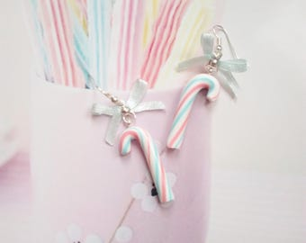 earrings candy cane pastel polymer clay