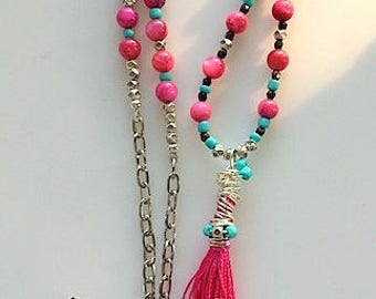 Long Pink, Black and Turquoise Beaded Tassel Necklace - Long Colorful Tassel Necklace