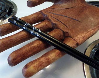 Chopsticks, vintage wooden chopsticks, black floral chopstick set, Black chopsticks