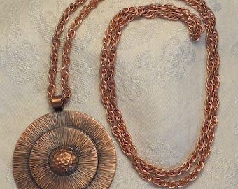 Vintage Bell trading post copper Mod southwestern tribal pendant necklace