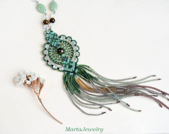 Fringe necklace, micro-macrame jewelry, glass, beaded, bohemian, boho chic, green mint brown, unique, long, dangle, tassel, tiger's eye gems