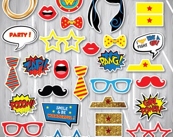 Wonder Woman Photo Booth Props. Wonder Woman Props, Wonder Woman, Wonder Woman Party Props, Wonder Woman Party, Instant Download, Printable