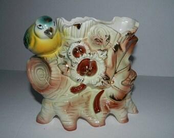 Retro 1970s Ceramic Bird Planter Made in Japan