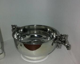 Pewter Teddy porridge bowl