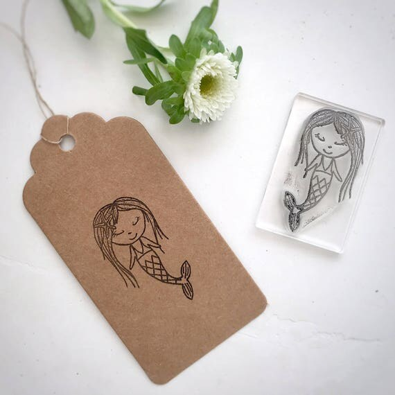 Mermaid Polymer Clear Rubber Stamp - Mermaid Stamp - Mermaid - Little Stamp Store