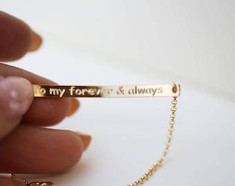 Bar Bracelet with inside message // Personalized engraved bar bracelet // Gift for her