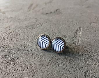 Geometry print earrings (white, blue) by CuteBirdie