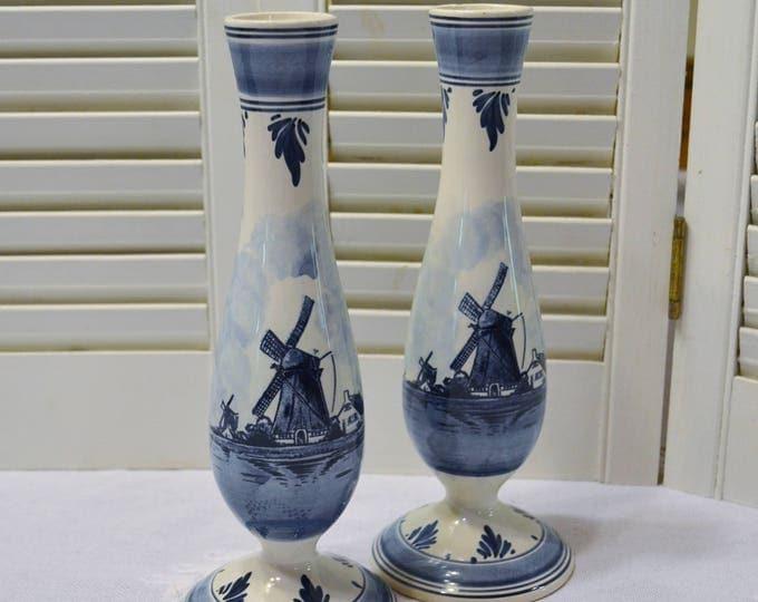 Vintage Delft Blauw Flower Vase Set of 2 Windmill Design Hand Painted Blue White Holland PanchosPorch