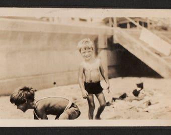 Vintage Snapshot Photo Joyful Happy Kids Playing in Sand at Beach 1930's, Original Found Photo, Vernacular Photography