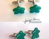 MEEPLE Cufflinks ! super cute meeple glass cuff links made by Jenefer Ham