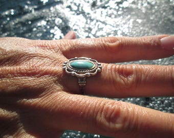 OrnateTurquoise and Sterling Ring Size 8.25