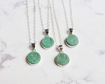 Mint green druzy necklace, rough crystal jewelry, peridot, august stone pendant
