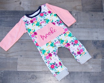 Monogrammed Baby Girl Floral Romper Bodysuit with Front Pocket