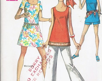Size 14 Misses' Dress Pants & Top Sewing Pattern - Tunic Top Pattern - Bell Bottom Pants Pattern - Mini Dress Pattern - Simplicity 8259
