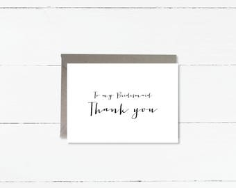 To my Bridesmaid Thank You card