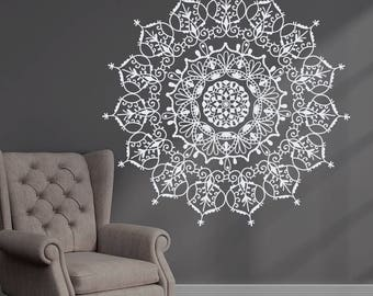 Bohemian Indian Pattern Mandala Wall Decals Floral Vinyl Stickers Yoga Art Ornament Design Interior Mural Removable Bedroom Home Decor AR400