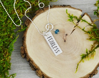 Fearless Inspirational Vertical Bar Necklace - Custom Hand Stamped Jewelry