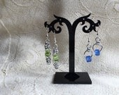 Filigree Byzantine or Japanese chain mail and glass bead earrings your choice of colour necklace and bracelet also available