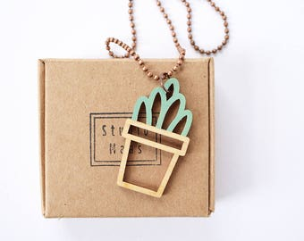 Long necklace, wood pendant, plant necklace, flower necklace, plant lovers, wood jewelry, laser cut necklace, mint jewelry, studiomaas