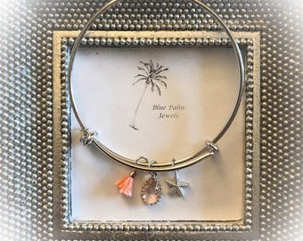 Handmade Silver Star Fish Charm Bangle