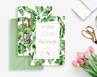 Banana Leaf Printable Wedding invitation - Tropical Wedding invitation - Banana Leaf Invitation - Tropical Invitation -Exotic